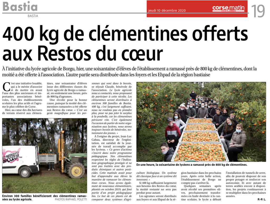 400 kg de clémentines offerts aux Restos du cœur